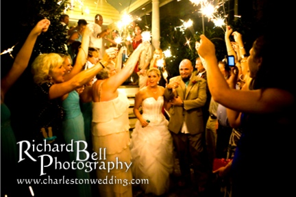 People, sparklers are just meant to be waved at a safe distance.  Please do not throw the sparklers at the bride and groom.  Common mistake.