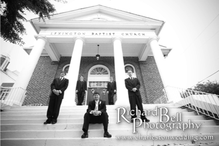 Stephen and his groomsmen in front of Lexington Baptist Church.