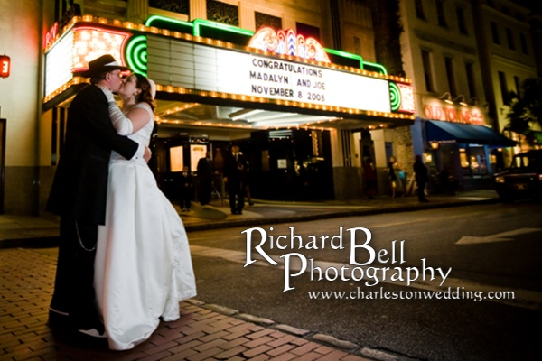 Riviera Theater adds a great touch for a wedding by putting the bride and groom's name up in lights on the Marquee.